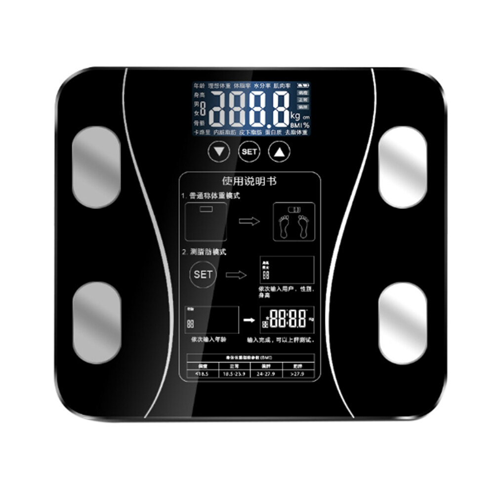 Body Fat Scales Intelligent Electronic Weight Scale High Precision Digital BMI Scale Water Mass Health Body Composition Analyzer Monitor
