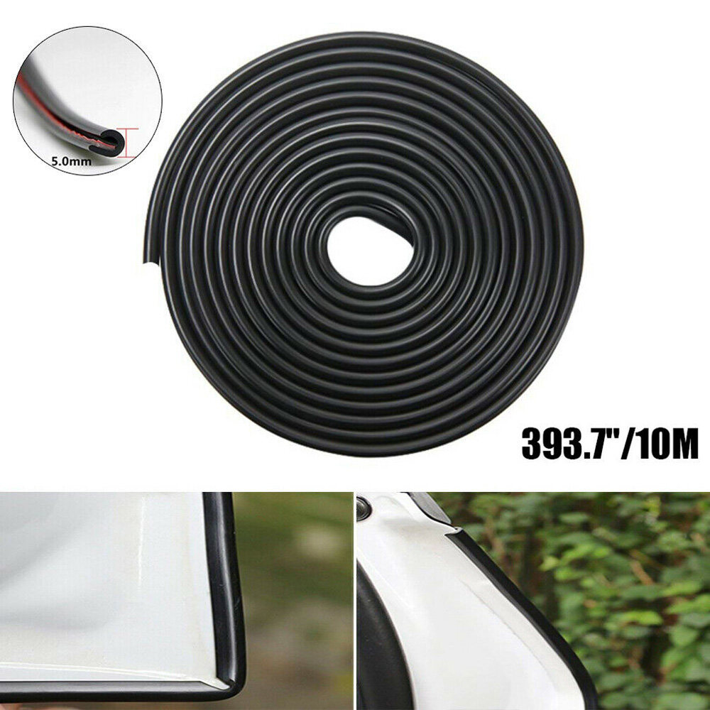 Black 32Ft U Shape Rubber Seal Car Door Edge Guard Molding Trim Protectors Strip