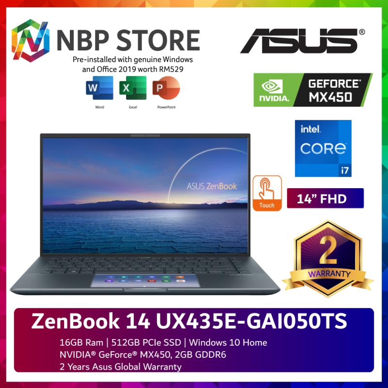 Asus ZenBook 14 UX435E-GAI050TS 14 FHD Touch Laptop Pine Grey ( i7-1165G7, 16GB, 512GB SSD, MX450 2GB, W10, HS ) Malaysia