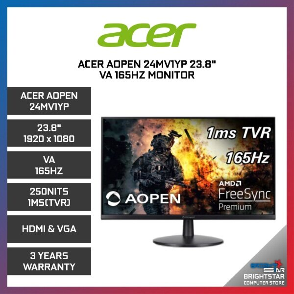 Acer Aopen 24MV1YP 23.8 VA 165HZ Monitor 250Nits 1MS (TVR) HDMI & VGA Malaysia