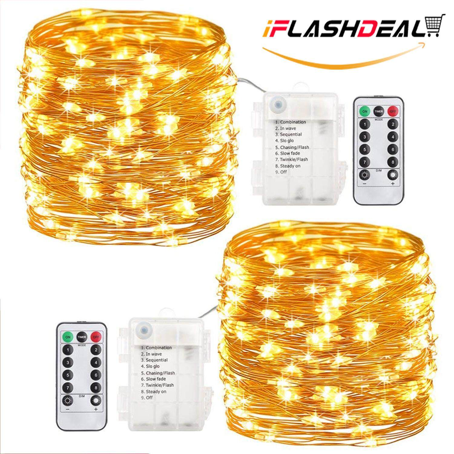 iFlashDeal 2 Pack 5M 50 LED String Lights Fairy Lighting Lamp Copper Wire Waterproof Wedding Party Home Festive Decor Indoor Outdoor Decorative