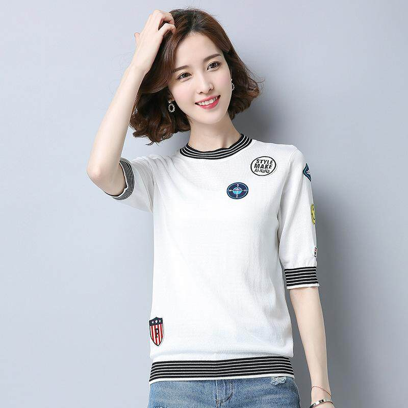 45e82ea5 2019 Summer New Women's Round Neck Striped Short Paragraph Head Pull Shirt  Ice Linen College Wind