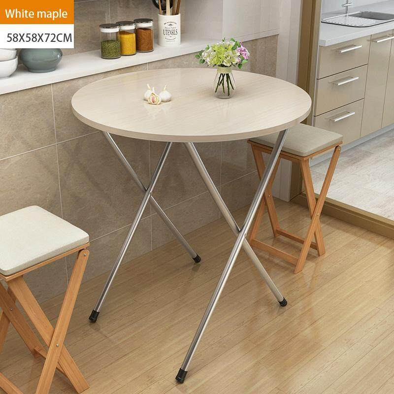 58x58x72cm, Folding Round Tbale, Wood Panel, Steel Frame, Snack Table Set,Drop-leaf Table, Folding Table, Drop-leaf Table,4Person, 6 Person