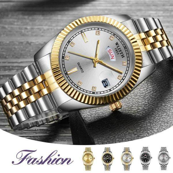 Homester Wlisth Business Watches Mens Calendar Waterproof Watch Steel Belt Quartz Wristwatch Fashion Luminous Clock for Men + Free Gift(Mens Casual Leather Bracelet) Malaysia