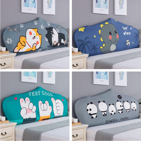 Home Bed Head Cover All-inclusive Simple Cartoon Bedside Back Cover Solid Wood Leather Bed Soft Bag Dust Cover Elasticity