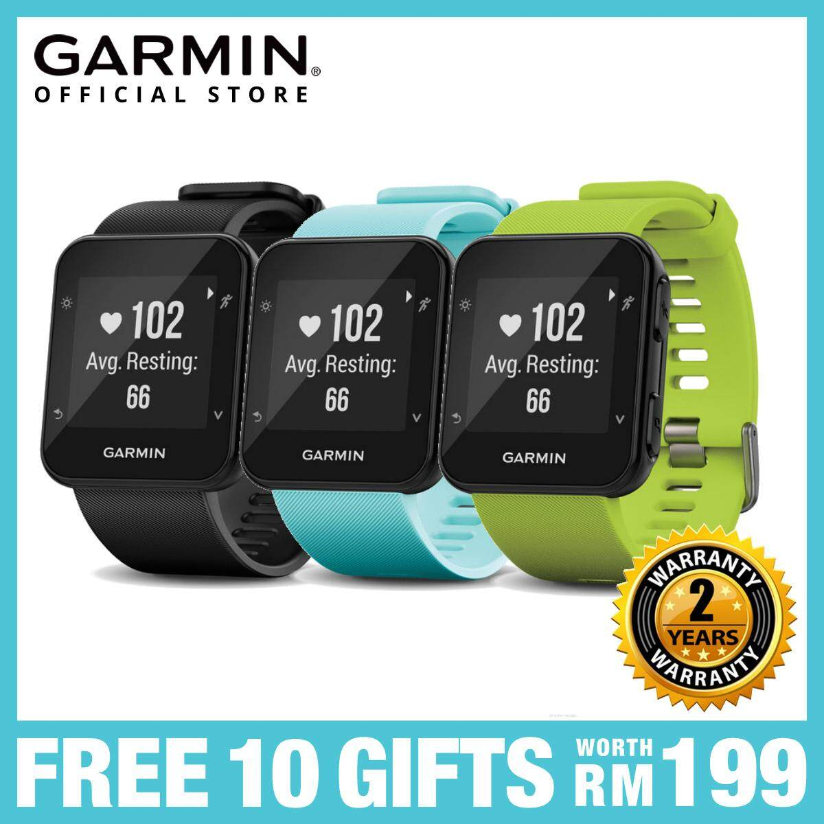 GARMIN FORERUNNER® 35 GPS RUNNING WATCH WITH WRIST-BASED HEART RATE MONITOR  - BLACK/LIMELIGHT/FROST BLUE