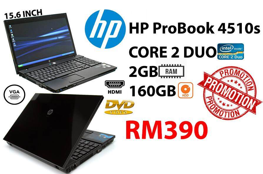 HP ProBook 4510s CORE 2 DUO 2GB RAM 160GB HDD 15.6 SCREEN INCH Malaysia