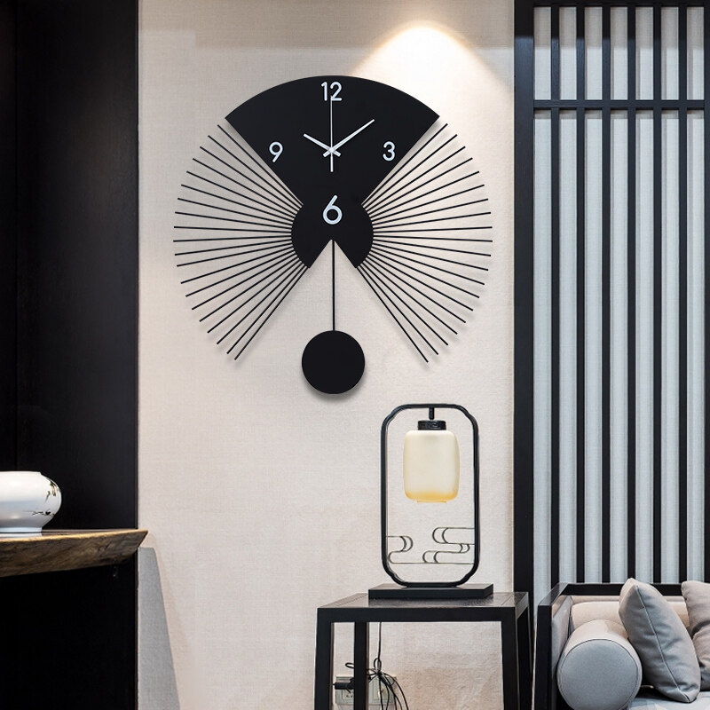 Wall Clock Living Room Bedroom Wall Fan Shaped Decorative Wall Watch Stylish Personality Simple Lazada Ph