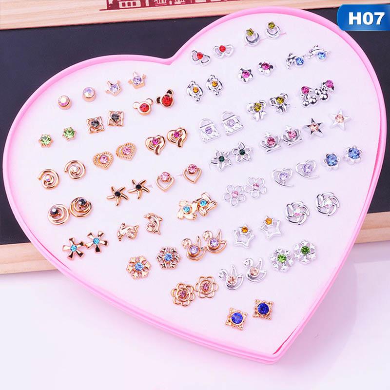 36 Cặp Gói Set Hỗn Hợp Stud Bông Tai Cho Phụ Nữ Hợp Kim Ear Studs Thời Trang Trái Tim Hoa Nơ Mèo Dễ Thương Bông Tai Đồ Trang Sức