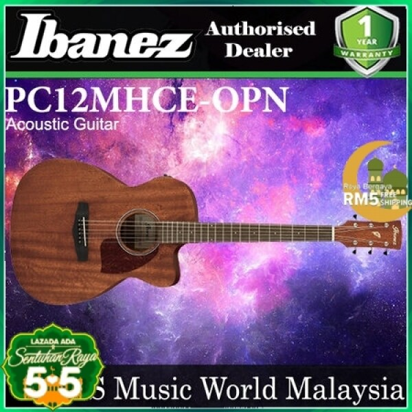 Ibanez PC12MHCE-OPN Cutaway Grand Okume Top Open Pore Natural Acoustic Guitar (PC12MHCE OPN) Malaysia