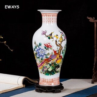 Trang Trí Bình Gốm Phong Cách Trung Quốc 37CM, Cắm Hoa, Bình Sứ Lớn, Trang Trí Thủ Công Đơn Giản thumbnail