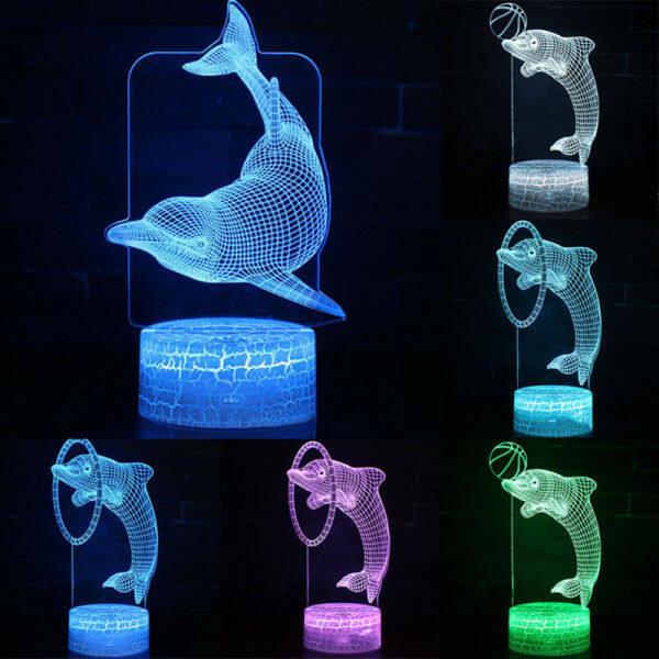 Bảng giá Đèn Ngủ LED 3D Hình Cá Heo Động Vật Rose11 Bằng Acrylic B, Đèn Bàn 7 Màu Dscor