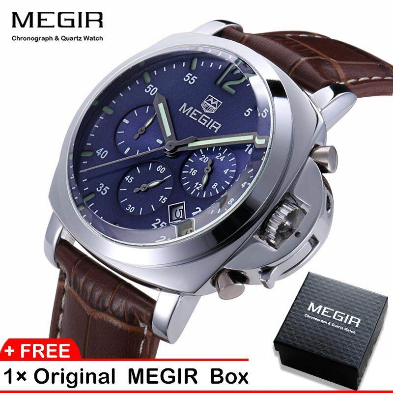 【100% Original】Megir 3006G Mens Watches  Chronograph Quartz Wrist Watch With Alloy Case And  Genuine Leather Band Malaysia