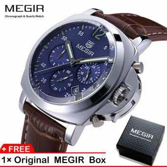 【100% Original】Megir 3006G Mens Watches  Chronograph Quartz Wrist Watch With Alloy Case And  Genuine Leather Band-