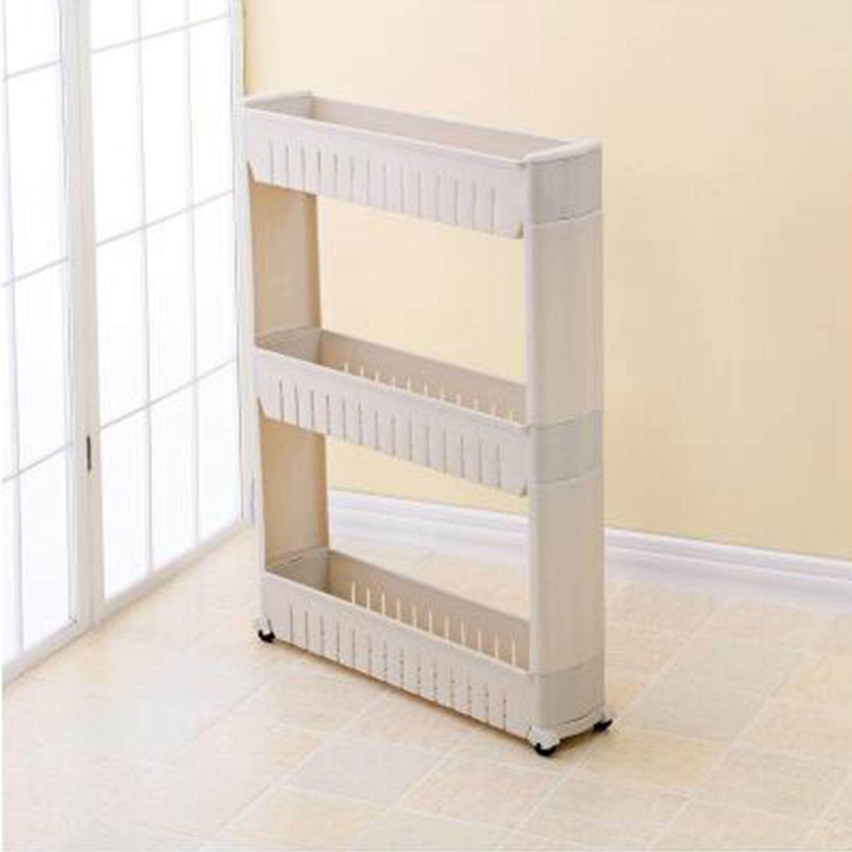Gap Storage Shelf For Kitchen Storage Skating Movable Plastic Bathroom Shelf Save Space 3 Layers High Quality(gray) By Ralleya.