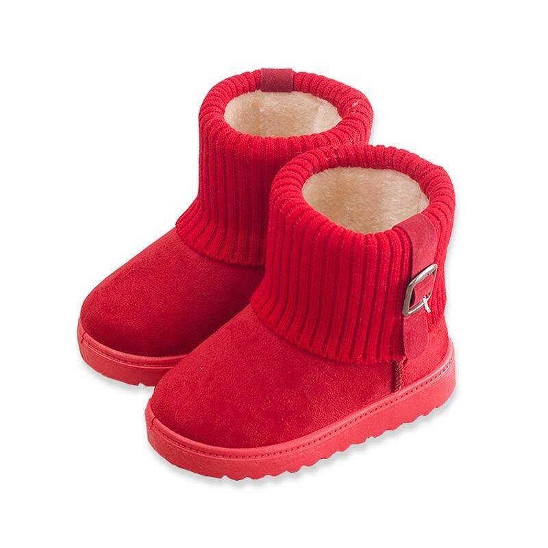Giá bán 3 Năm Cô Gái Tuổi Giày Mùa Thu Đông Cotton Trẻ Em Giày Nữ Cho Bé Ủng Công Chúa Giày Da Bé bé Trai Cổ Ngắn Tăng Giày Trẻ Em