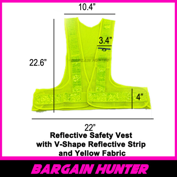 BARGAIN HUNTER - Reflective Safety Vest with V-Shape Reflective Strip and Yellow Fabric