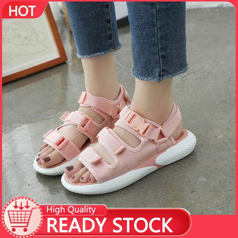 7e9be4180688 BORDER【High Quality 】 2019 new Korean version of the wild magic stickers  net red casual ins thick sandals