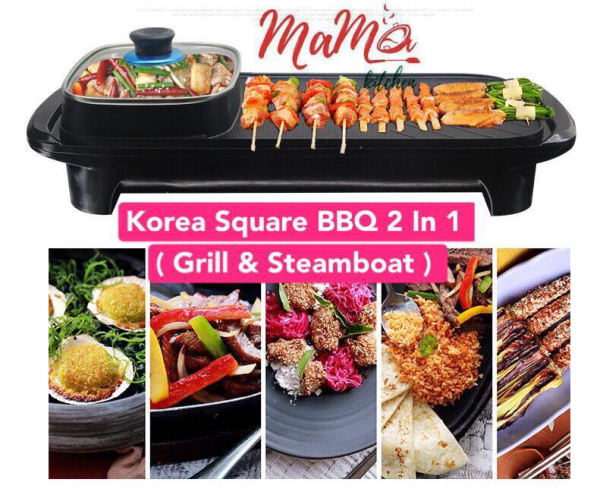 BBQ 2 in 1 Korean Square BBQ Pan Grill + Hotpots Steamboat
