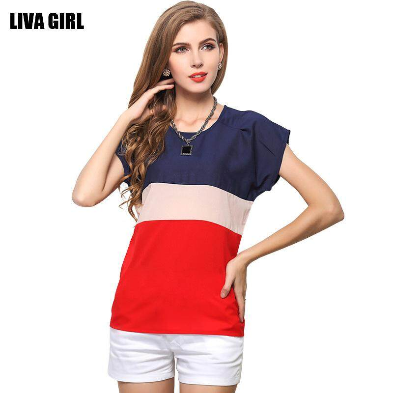 907207f5560ef Short-sleeved Chiffon Shirt Three-color Stitching Small Fresh Color  Matching T-shirt