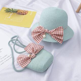 Summer Straw Kids Bag Big Bow Shoulder Bag, Wave Sun Hat - Solid Color Girls Crossbody Bag, Beach Hat thumbnail