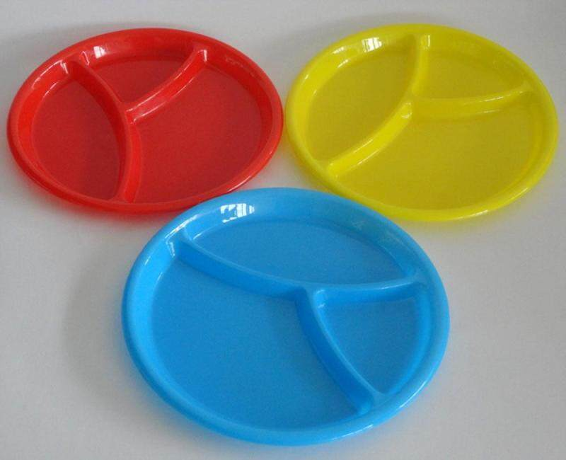 LightSmile Children Microwave Hard Plastic Round Divided Plates Dish Tray Utensils,Kids Food Mats One Piece Random Color Singapore