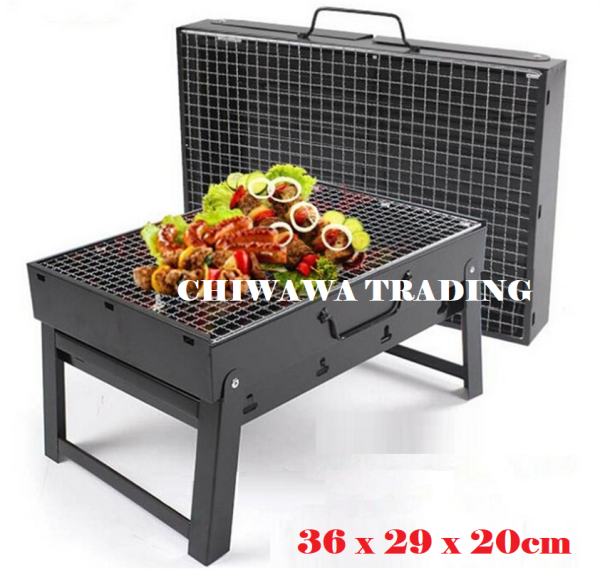 Portable BBQ Grill Charcoal Barbecue Carry and Go Briefcase BBQ 【36 x 29 x 20cm】- Black