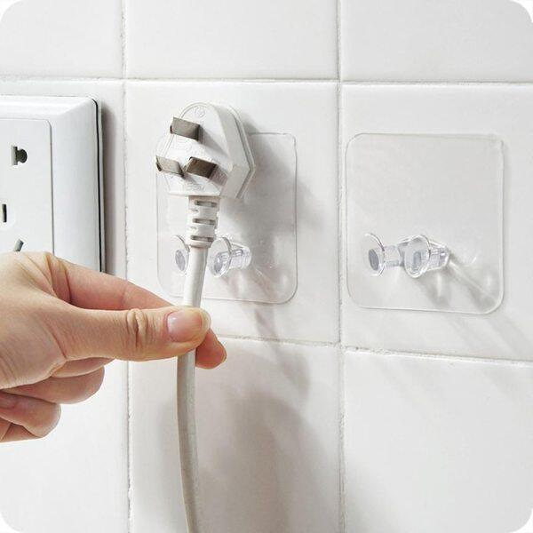 10Pcs/Set Strong Plug Hook Kitchen Bathroom Multi Purpose Transparent Gluing Adhesive Hook Toothbrush Holder