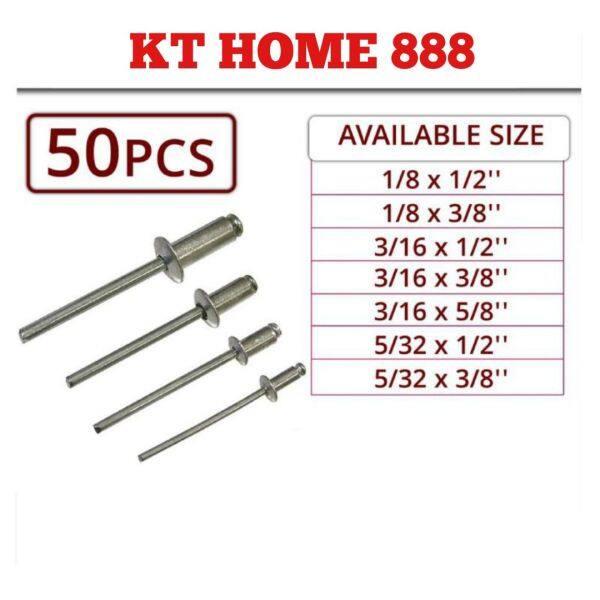 [50 PCS] Aluminium Blind Rivet Mata Rivet (1/8, 3/16, 5/32) x 50PCS Per Pack 笔钉 Quality