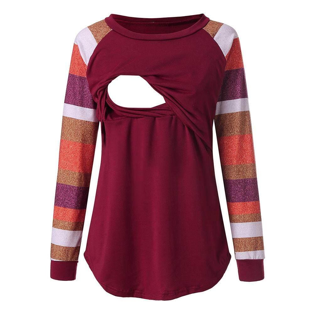 7c09c8070e6a1 Dotsonshop Maternity Womens Nursing Stripe Long Sleeve Round Neck  Breastfeeding Blouse