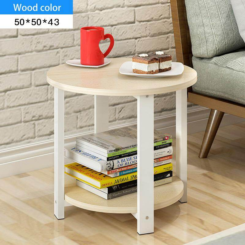 RuYiYu - 50X50X43cm, 2 Layer Round Coffee Table, Multi-color Optional, White Metal Frame, Coffe Table