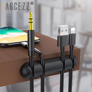 Accezz Cáp USB Tổ Chức Giá Đỡ Quản Lý Dây Cuốn Gọn Tai Nghe Chụp Tai Chuột Dây Silicone Kẹp Cáp Sạc Điện Thoại Dòng Máy Tính Để Bàn Người Tổ Chức thumbnail