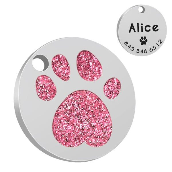Thẻ Dog Cat Được Cá Nhân Hóa, Thẻ ID Vật Nuôi, Thẻ Cổ Áo, Paw Glitter Khắc Miễn Phí