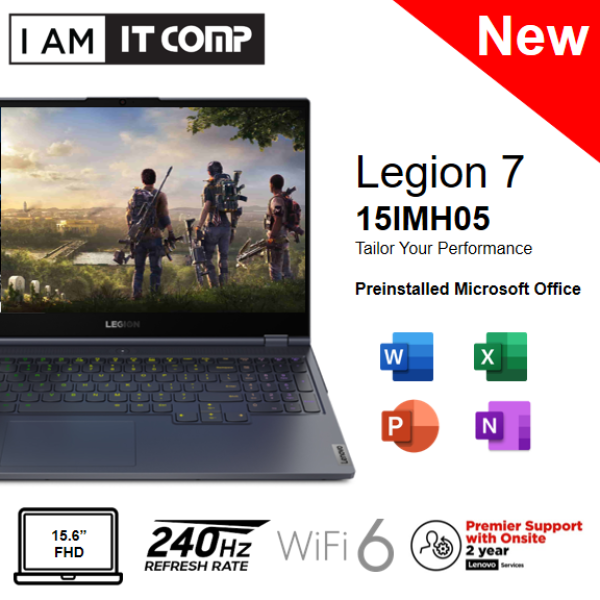 Lenovo Legion 7 15IMH05 81YT0065MJ 15.6 FHD 240Hz Gaming Laptop ( i7-10750H/16GB/1TB SSD/RTX2070 MaxQ 8GB/W10) FOC LEGION ARMORED BACKPACK Malaysia