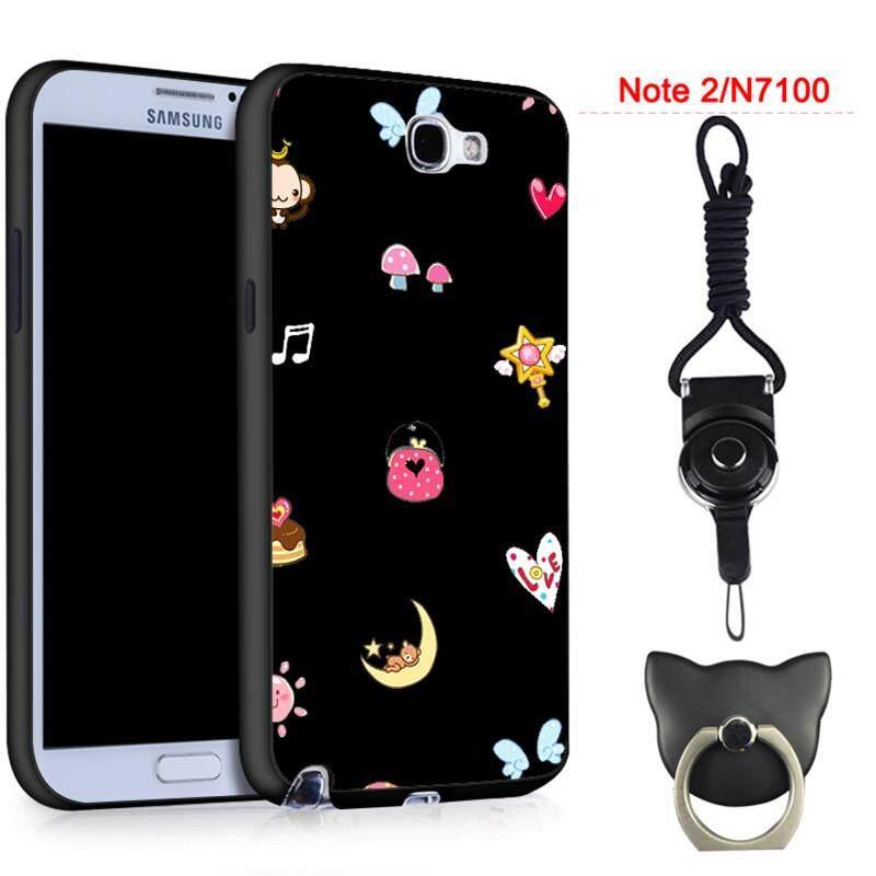 360°full Silikon Pelindung Casing Lembut Ponsel untuk Samsung Galaxy Note2/N7102/N7100 dengan Tali dan Ring Fashion Indah Kartun (aneka Warna)