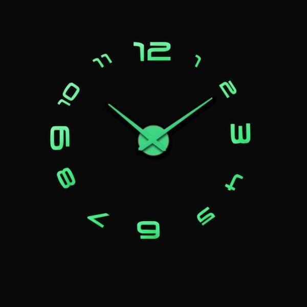 Đồng Hồ Treo Tường Dạ Quang Đồng Hồ Tự Làm 3D Lớn Miếng Dán Tường Gương Acrylic, Kim Thạch Anh Phòng Khách Trang Trí Nhà Horloge, Reloj De Pared