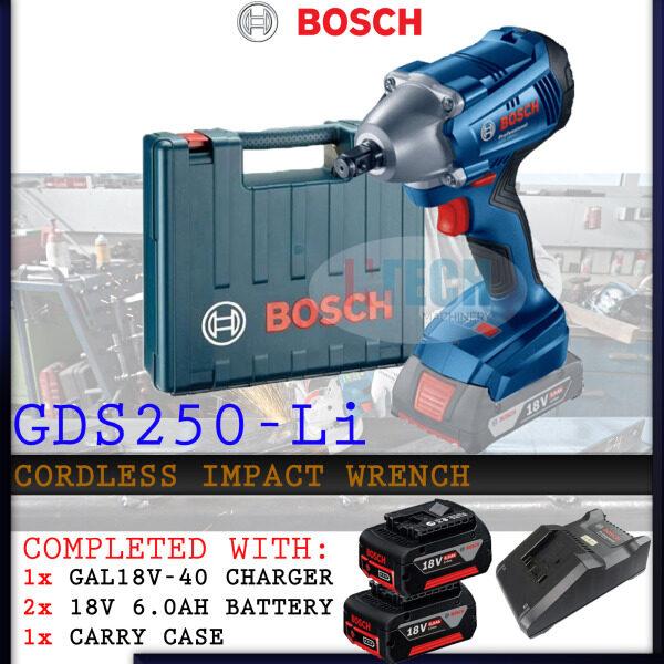 BOSCH GDS250-LI CORDLESS IMPACT DRILL C/W GAL18V40 CHARGER+2xGBA18V 6.0AH BATTERY(GDS250LI)