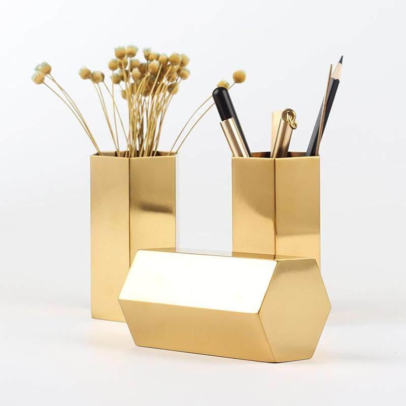 INS Nordic Hexagonal Stainless Steel Gold Vase Modern Fashion Metal Flower Vase Room Study Hallway Home Wedding Decoration