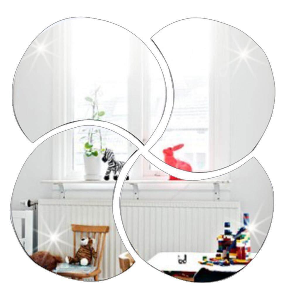 【Newstylishs】4pcs 3D Rời Gương Dán Tường Nhà DIY Trang Trí Phòng Khách Bạc giá rẻ