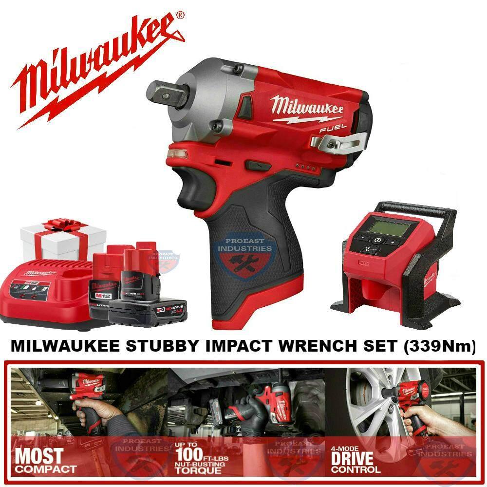 Milwaukee M12FIWF12-302 Stubby Impact Wrench + M12 BI-0 Compact Inflator Combo Set