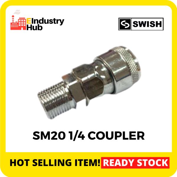 SWISH SM20 1/4 Pneumatic Air Compressor Hose Quick Coupler Plug Fitting Air Hose Compressor Connector Quick Coupler