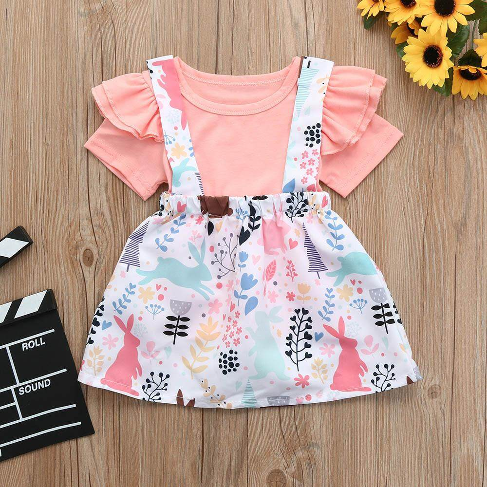 cc178a0c49ad Toddler Baby Girls Short Sleeve Solid Tops+Animal Rabbit Print Skirts  Outfits