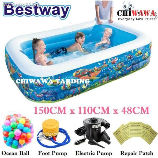 🔥PROMOTION 14585 🔥Inflatable 3 Ring Swimming Pool Safe PVC Bath Basin KOLAM KANAK