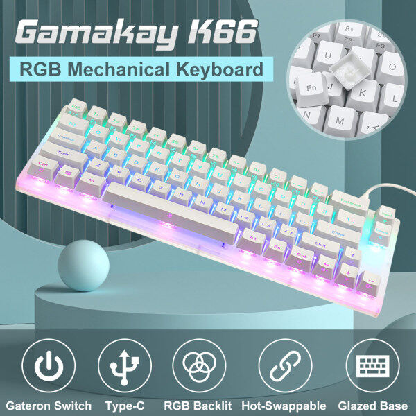 GamaKay K66 Wired Mechanical Keyboard RGB Backlit Type-C Hot Swappable 66 Keys Gateron Switch Gaming Keyboard with Crystalline Base for PC Laptop