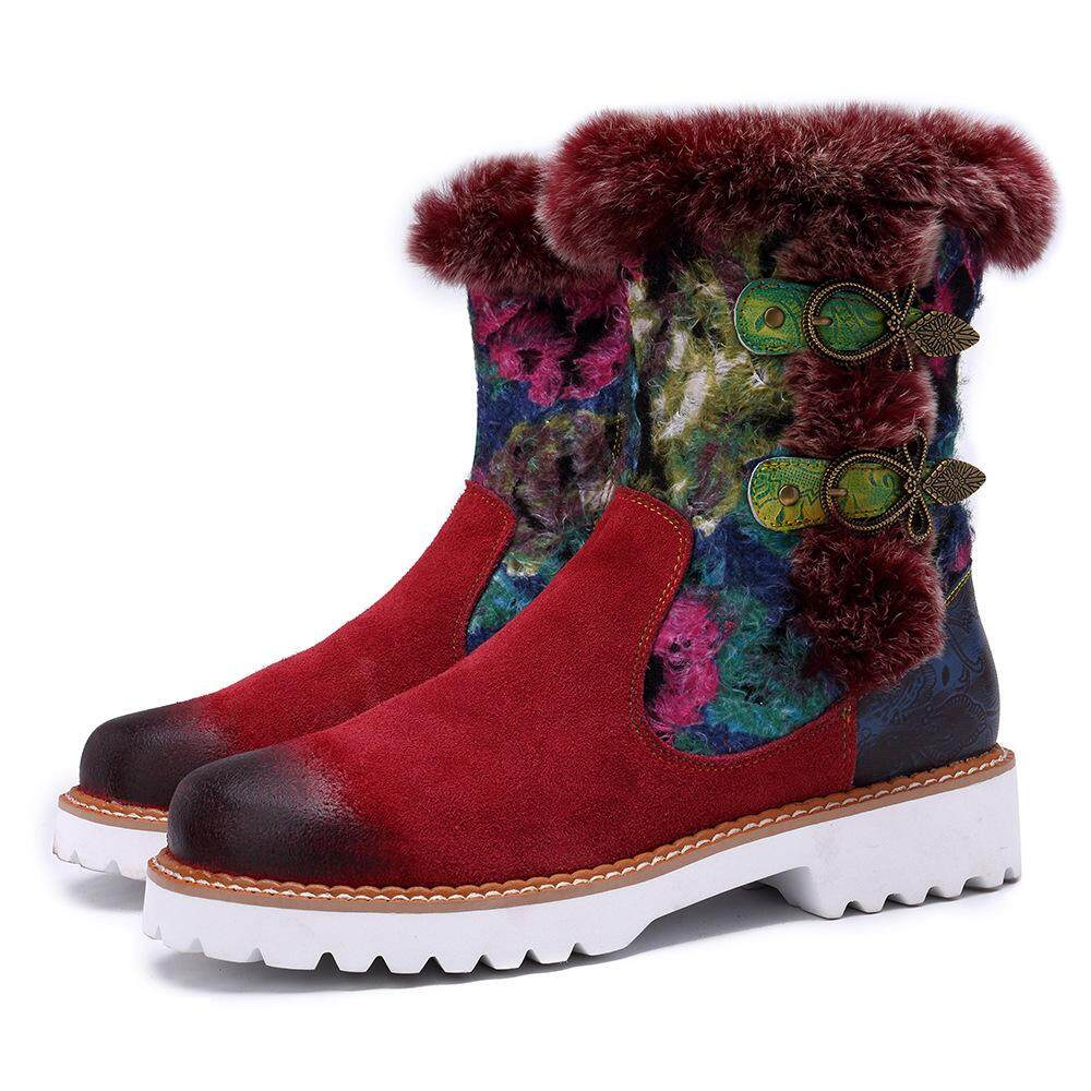 2019 Snow Boots Rabbit Fur New Genuine Leather Ankle Women Winter Autumn Shoes Woman Flower Soft Flat Warm Booties By Be Wonderful Fashion.