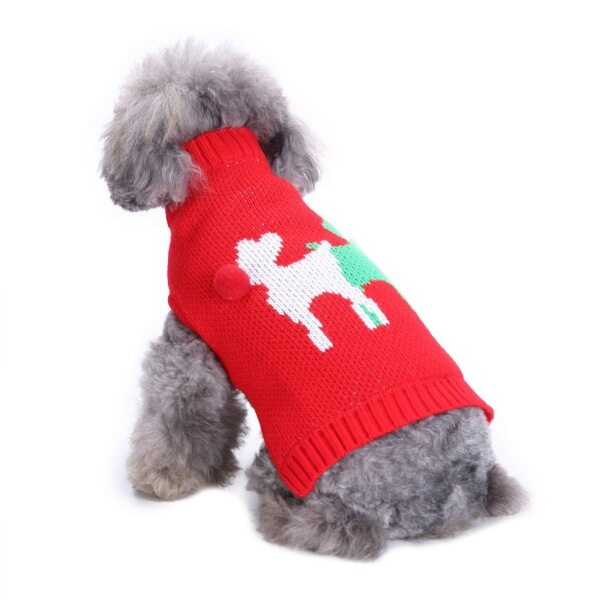 Autumn Winter Dual Color Pet Dog Puppy Knitted Sweater Coat Warm Clothes For Christmas