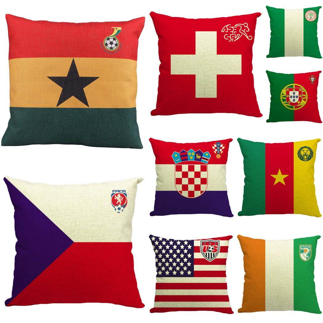 Bigood Pack of 9 National Flag #C Cushion Cover Cotton Linen 18x18 Decors Pillowcases Sofa Pillow Cover