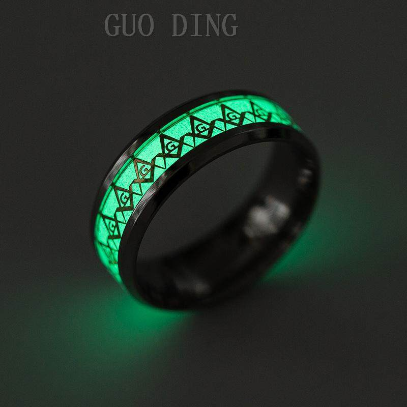 New 316L Stainless Steel Luminous Rings Men Glow In The Dark Fluorescent  Glowing Fashion Masonic Ring For Women Party Jewelry