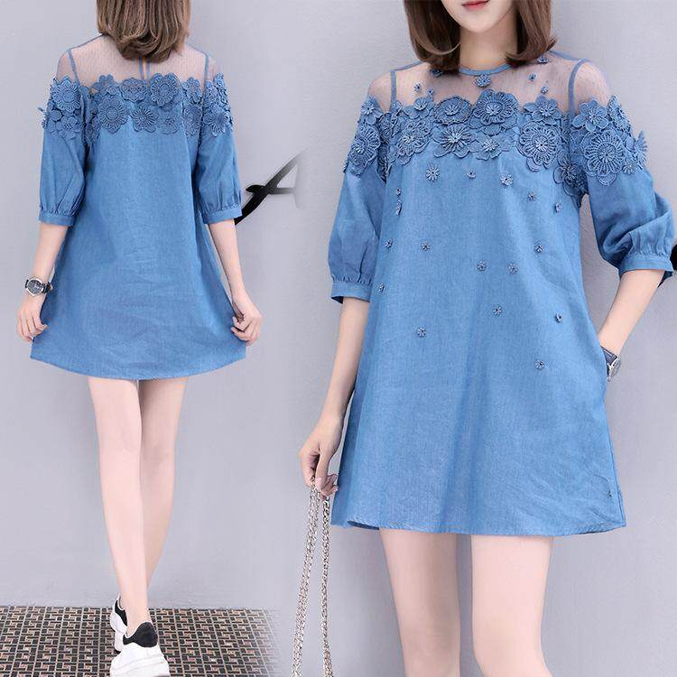2c6bc0673add Product details of New Women's Large Size Denim Dress / Lace Embroidered  Dress