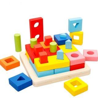 Đồ Chơi Montessori Bằng Gỗ, Khối Xây Dựng, Đồ Chơi Xếp Hình 3D Đồ Chơi Giáo Dục Học Tập Sớm Phù Hợp Với Hình Dạng Màu Sắc Trẻ Em Trẻ Em Bé Trai Bé Gái thumbnail